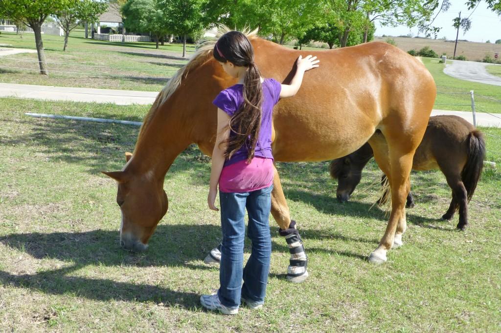 Elisha petting Flo and Gus